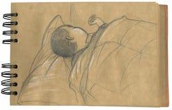 Baby die 2 slaapt - sketchbook Royalty-vrije Stock Afbeelding