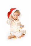 Baby die de hoed van de Kerstman draagt Royalty-vrije Stock Foto's