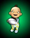 Baby die een Ei houden Stock Foto's