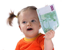 Baby die euro neemt. Stock Foto's