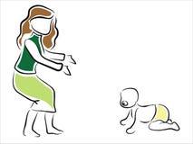 Baby die leert te lopen Royalty-vrije Stock Afbeeldingen