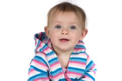 Baby die met Stuk speelgoed glimlacht Royalty-vrije Stock Foto