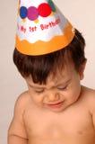 Baby die op eerste verjaardag schreeuwt Royalty-vrije Stock Fotografie