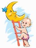 Baby die op maan bij nacht door ladder beklimmen Royalty-vrije Stock Afbeeldingen