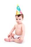 Baby die partijhoed draagt royalty-vrije stock afbeelding