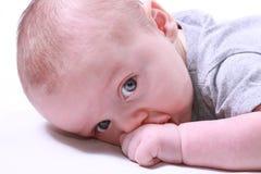 Baby die zijn hand zuigt Stock Foto