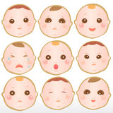 Baby with different expressions Stock Photography