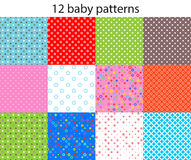 Baby different seamless patterns Royalty Free Stock Photos