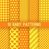Baby different vector seamless patterns. Orange. 10 Baby different vector seamless patterns. Orange and yellow colors. Endless texture can be used for printing Royalty Free Stock Image