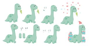 Baby dino diplodocus character design set with emotions and movement with Christmas and Valentines or love concepts for site, info vector illustration