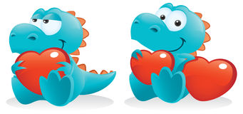 Baby Dino With Hearts. Cute Baby Dinosaur Posing With Hearts Stock Images