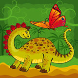 Baby dinosaur and a big butterfly. In the forest Royalty Free Stock Photography