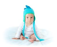 Baby in dinosaur hat Royalty Free Stock Images