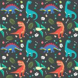 Baby Dinosaur Seamless Pattern Colorful Vector Illustration Dark Background Stock Images