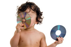 Baby with disk. Royalty Free Stock Image