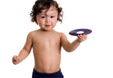 Baby  with disk. Royalty Free Stock Photo