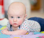 Baby does tummy time! Royalty Free Stock Image