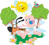 Baby and dog. Vector illustration Royalty Free Stock Images