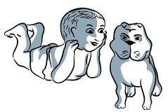 Baby and dog stock illustration
