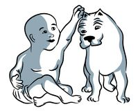 Baby and dog vector illustration