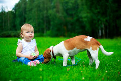 Baby with a dog Stock Images