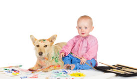 Baby and dog painting Stock Image