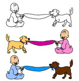 Baby with dog pulling blanket or banner. Cartoon illustration of baby boy or girl and dog pulling the blanket, with room for the message or announcement, choice Stock Photography
