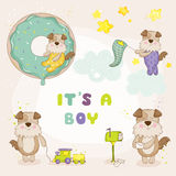 Baby Dog Set - Baby Shower or Arrival Cards. In vector Stock Photo