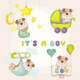 Baby Dog Set - for Baby Shower or Baby Arrival Cards Royalty Free Stock Photos
