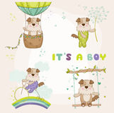 Baby Dog Set - for Baby Shower or Baby Arrival Cards Stock Images
