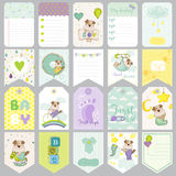 Baby Dog Tags. Baby Banners. Scrapbook Labels. Cute Cards Stock Photo