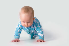 Baby doing push-ups. Baby in blue polka pajama concentrating on doing push-ups Royalty Free Stock Images