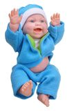 Baby doll in blue clothes Royalty Free Stock Photo