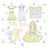 Baby doll dress color green blue Stock Images