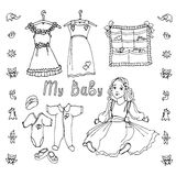 Baby doll dress. Draft items for the baby - doll, dress, clothes, toysin black and white, letters written my baby Stock Images