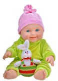 Baby doll with easter rabbit Royalty Free Stock Photo