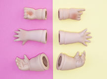 Baby Doll Head, Arms, Face Parts on Yellow and Pink Background Stock Photos