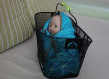 Baby doll in a metallic basket. Baby doll in a metallic basket cover by a blue blanket royalty free stock photo