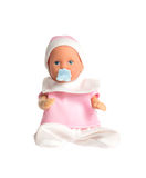 Baby doll in pink clothes isolated on white background Royalty Free Stock Photography