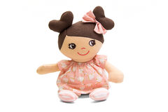 Baby doll soft toy isolated on white Royalty Free Stock Images