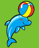 Baby Dolphin. Playing with beach ball Stock Illustration