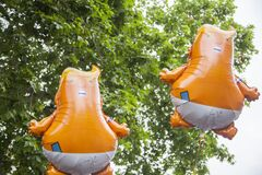 Baby Donald Trump helium balloons during an Anti Trump rally in Central London