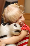 Baby and donkey. She is cute baby and donkey Royalty Free Stock Photos