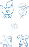 Baby Doodles: Baby Boy. Set of five cute doodle illustrations including baby boy in a crib, stroller, butterfly, toy train and romper Royalty Free Stock Image
