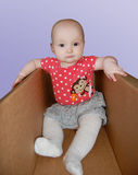 Baby in doos Stock Foto