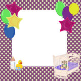 Baby dots and balloon background. Baby theme element dotted frame background  with balloons. Vector illustration Royalty Free Stock Images
