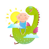 Baby and dragon cloud sun flying happy friends Royalty Free Stock Photo