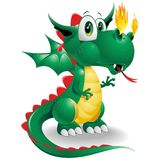 Baby Dragon Cute Cartoon. Cute Little Dragon looking amazed about the flames coming out from his nose! He can't believe he have such a Power! Original Vector Stock Photography