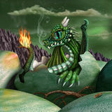 Baby Dragon. Cute baby fire breathing dragon hatching from a green egg at night Stock Photos