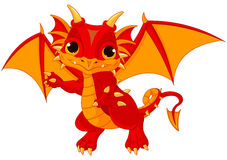 Baby dragon. Illustration of cute cartoon baby dragon Royalty Free Stock Photos